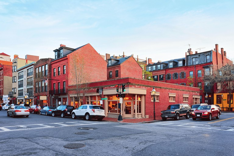 Crossroads of Mount Vernon Street and Charles Street in Beacon Hill neighborhood in downtown Boston, MA, the USA