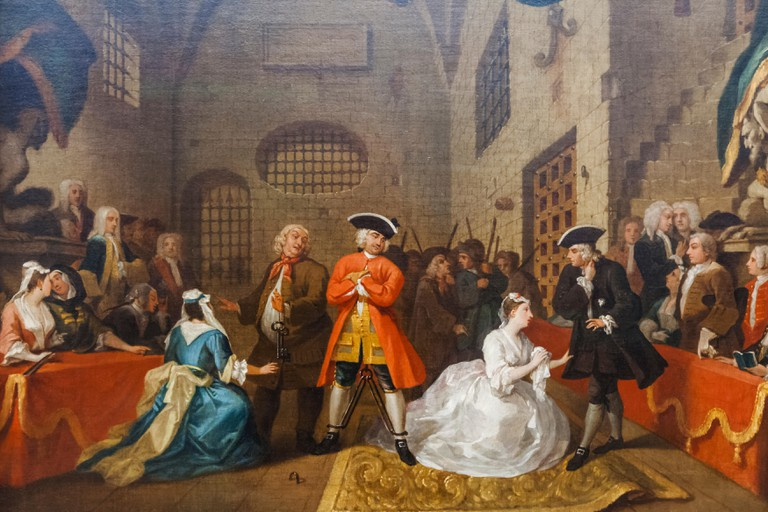 Painting titled The Beggar's Opera VI, by William Hogarth dated 1731