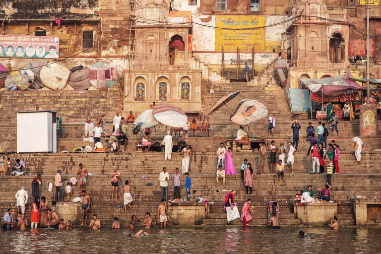 Hindu pilgrims take holy bath in the river ganges on the auspicious Maha Shivaratri festival in Varanasi, Uttar Pradesh, India
