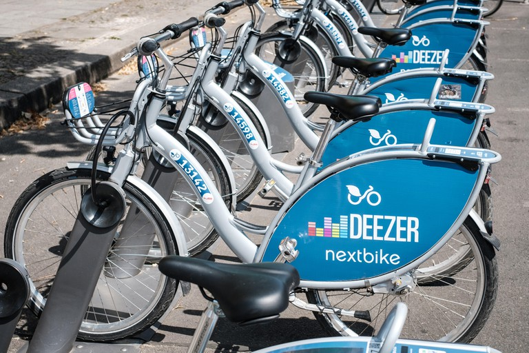 Berlin, Germany - june 2018: Bicycles of Deezer Nextbike, a bike sharing company    in Berlin, Germany