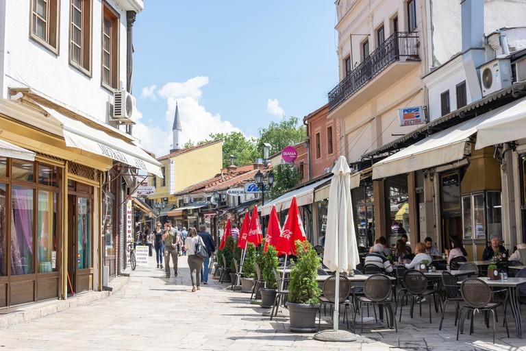 Street scene in The Old Bazaar, Skopje, Skopje Region, Republic of North Macedonia. Image shot 2018. Exact date unknown.