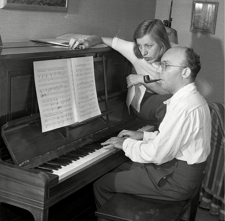 Weill Lenya Theatrical composer Kurt Weill and his wife, performer Lotte Lenya, are seen at the piano at their home in New City, in the Rockland County suburb of N.Y.