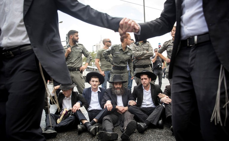 Ultra-Orthodox Jews protest against the annual Jerusalem Pride celebrations
