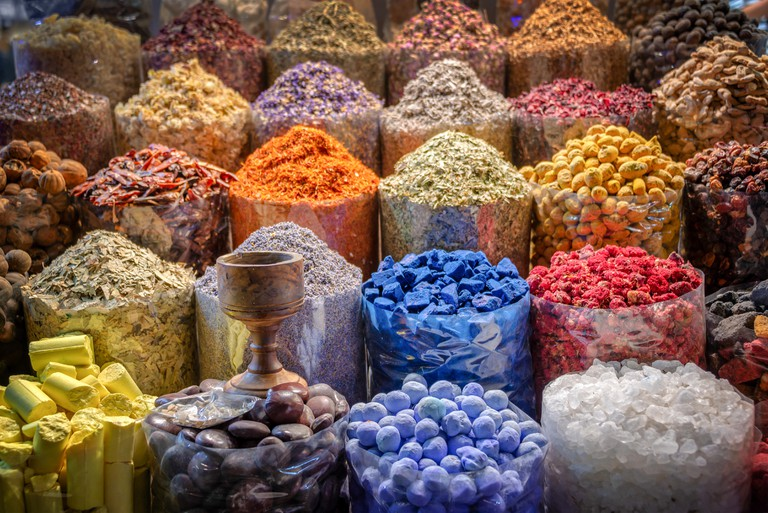 Piles of spices in the Dubai spice souk