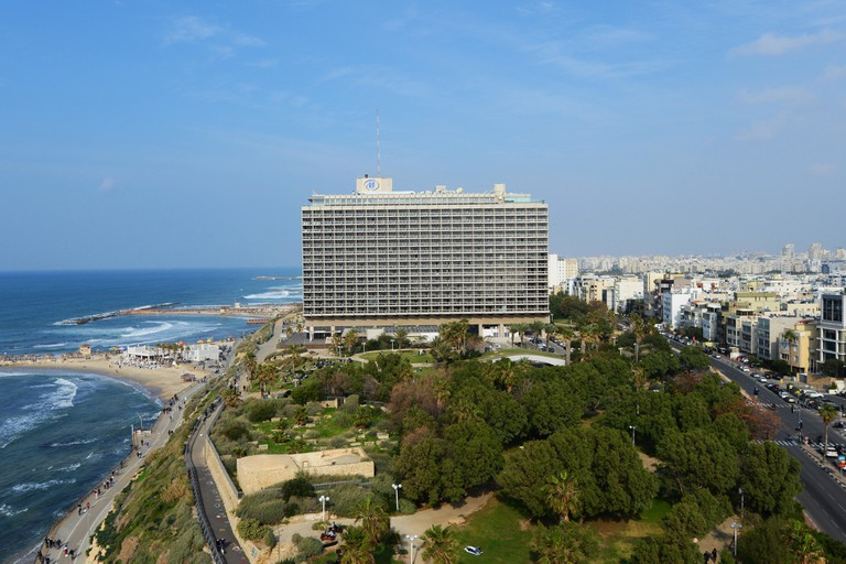 The Hilton hotel and the Independence park in Tel-Aviv.