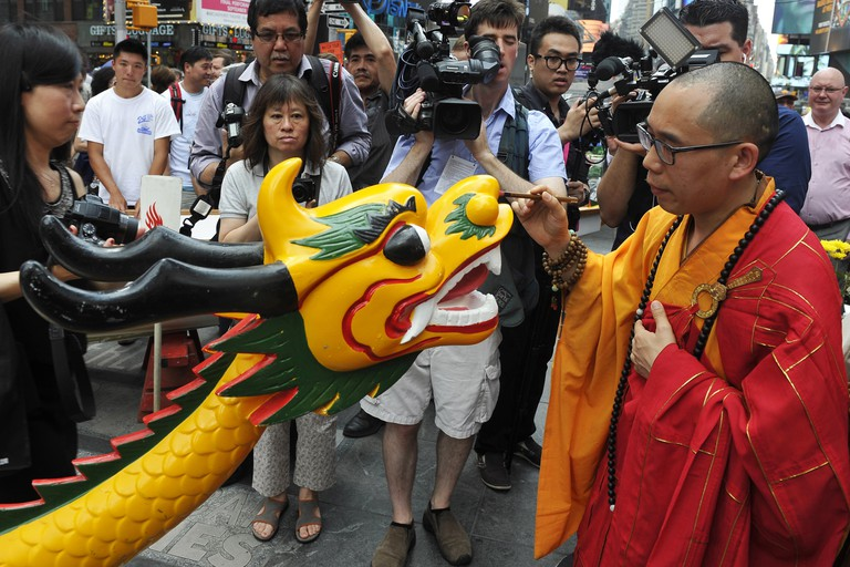 Dragon Boat awakening ceremony, Times Square, New York, America - 07 Jul 2015