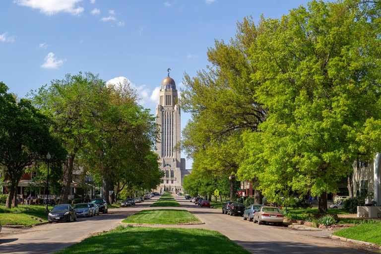 The Nebraska State Capitol, downtown Lincoln, Nebraska