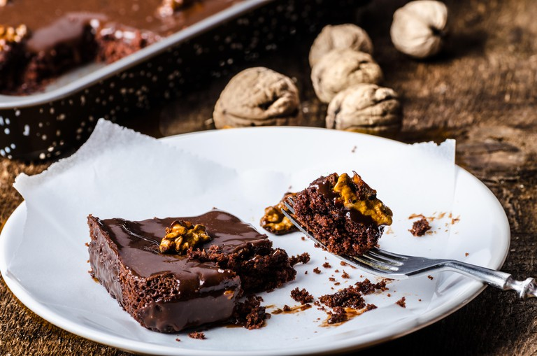 Chocolate cake with roasted nuts