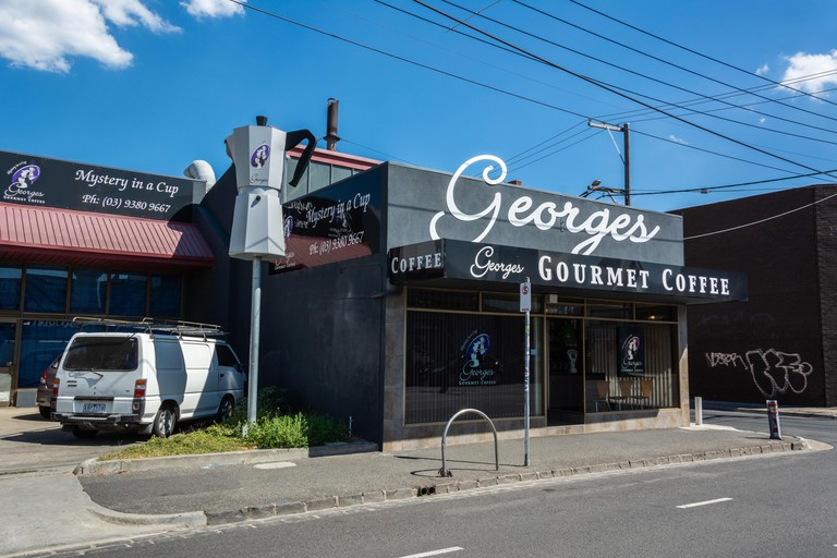 Brunswick, Melbourne, Victoria, Australia – March 8, 2017. The site of the Big Coffee Maker in Brunswick suburb of Melbourne, with a coffee house and