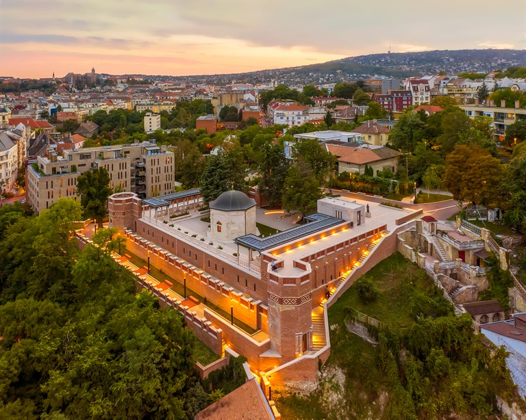 An aerial view of the tomb of Gul Baba in Budapest