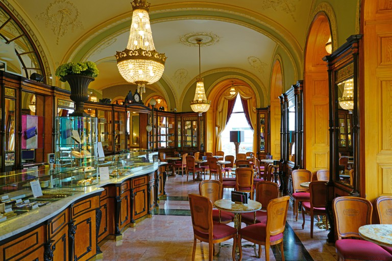 Cafe Gerbeaud, a historic cafe in Vorosmarty Square in downtown Budapest, Hungary.