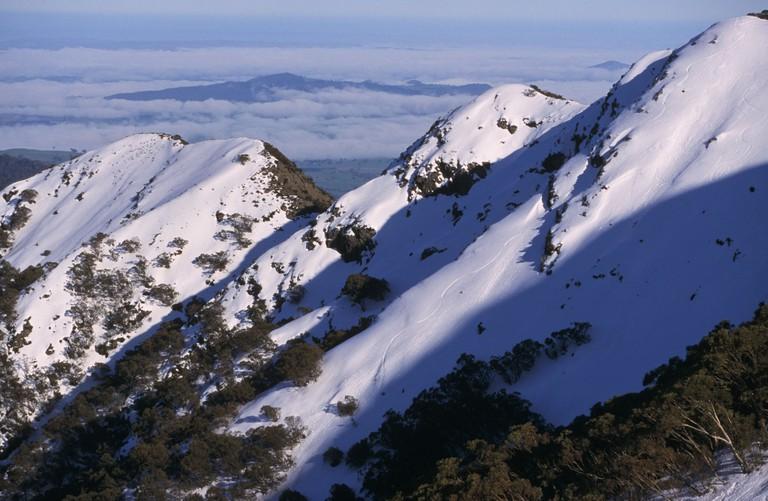 Ski tracks on Mt Buller, Victoria, Australia.