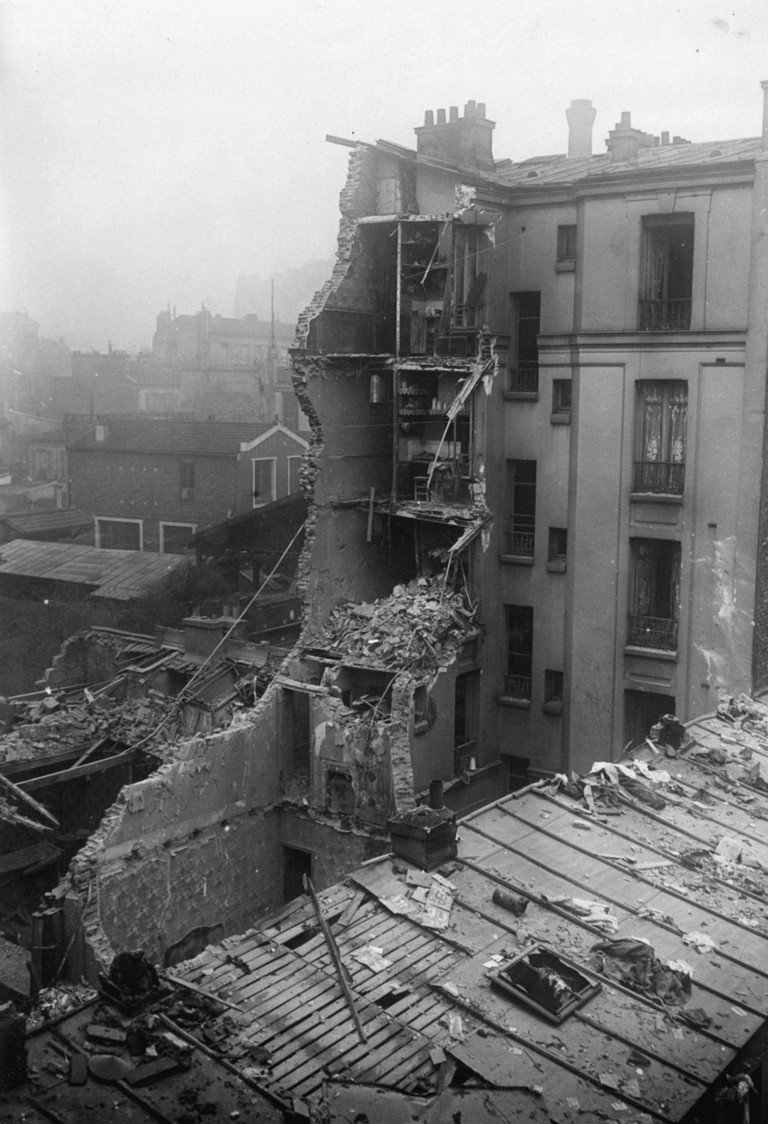 Destroyed house in Paris during WWI Aerial Warfare Zeppelin attack of the German Airforce on Paris