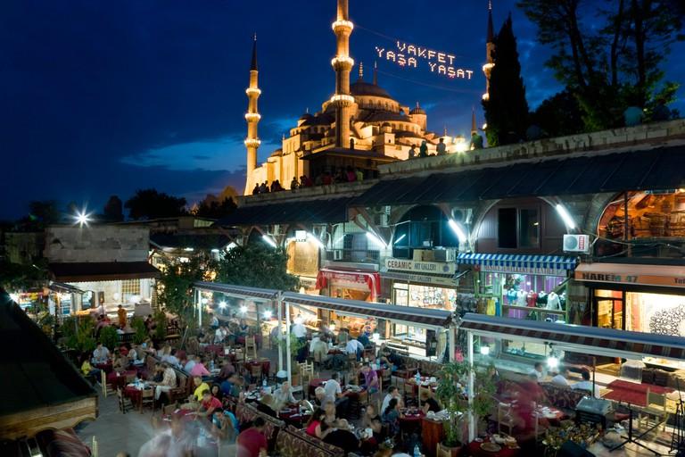 The Blue Mosque or Sultan Ahmet Mosque 1609 1616 restaurant Sultanahmet District Istanbul Turkey