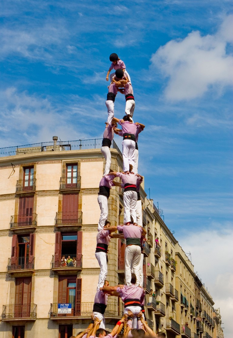 Castellers Competition during the La Merce Festival in Placa de Sant Jaume, Barcelona.