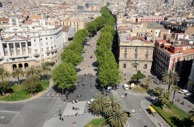 Aerial view over La Rambla in Barcelona, Spain.