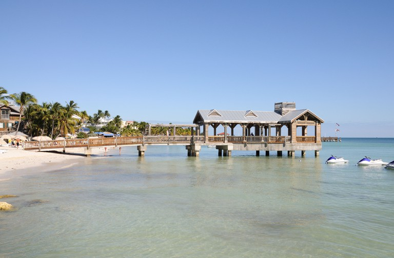 Pier at the beach in Key West, Florida.