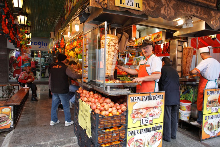 Food stall, Doner Kebab, Istanbul, Turkey. Image shot 01/2010. Exact date unknown.