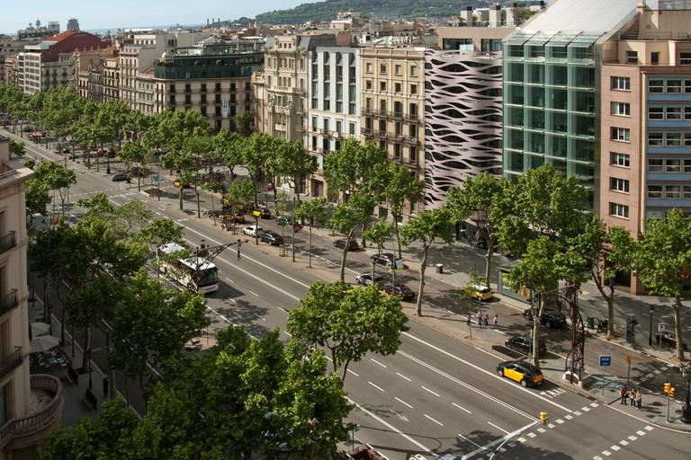 Passeig de Gracia from the roof terrace of Casa Mila or La Pedrera, Barcelona