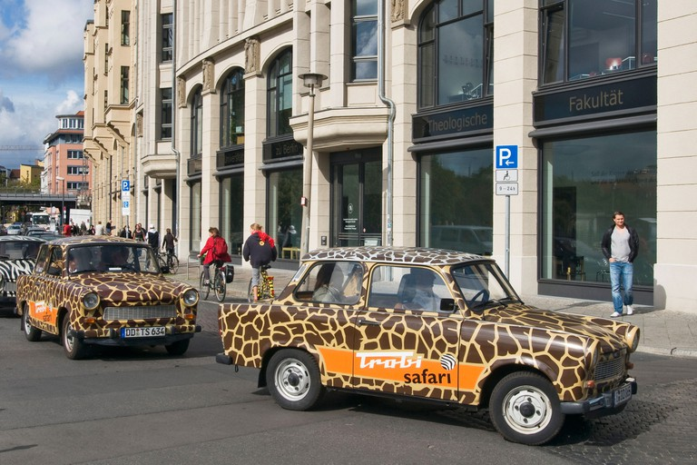 Procession of Trabants used for touring Berlin, Germany