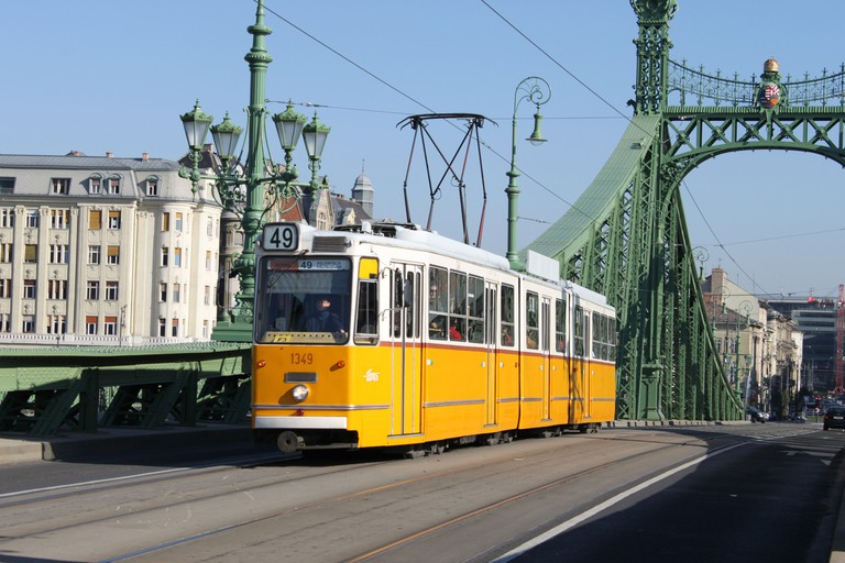 Yellow tram in Budapest, Hungary.