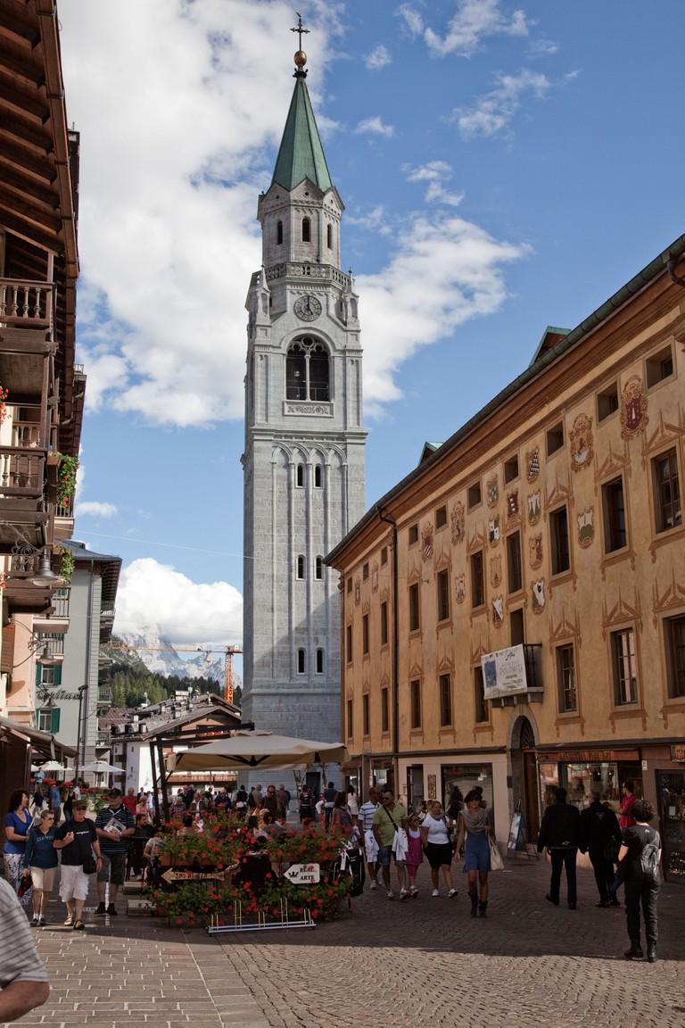 Corso Italia, with Campanile Bell Tower, Cortina d'Ampezzo.