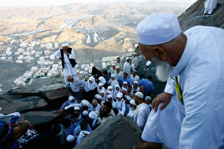 Pilgrims at Mount Arafat, Jabal al-Rahmah, Saudi Arabia.