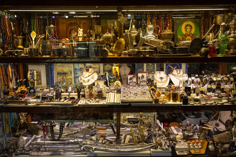 Some items on display in the Aret Sar jewellery shop in the Grand Bazaar of Istanbul, Turkey's most populous city.