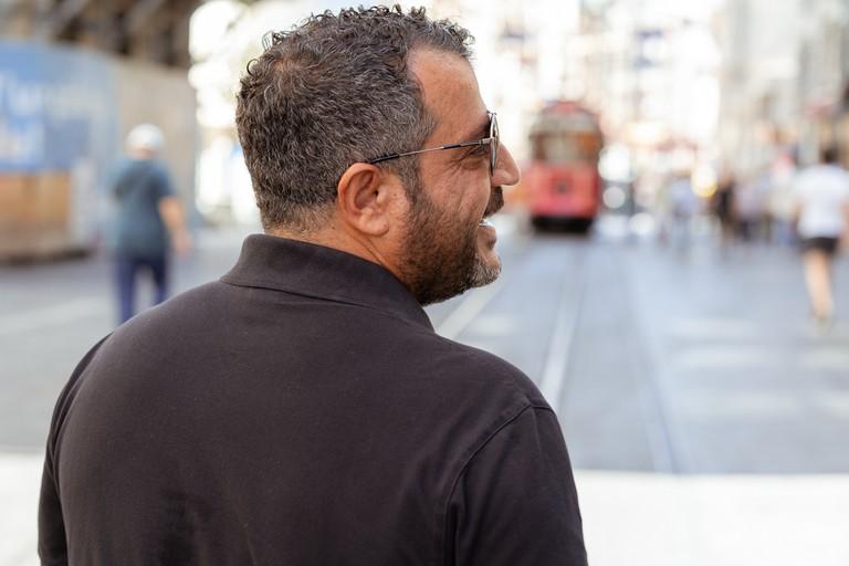 Ahmet walking on Istiklal Caddesi, Istanbul