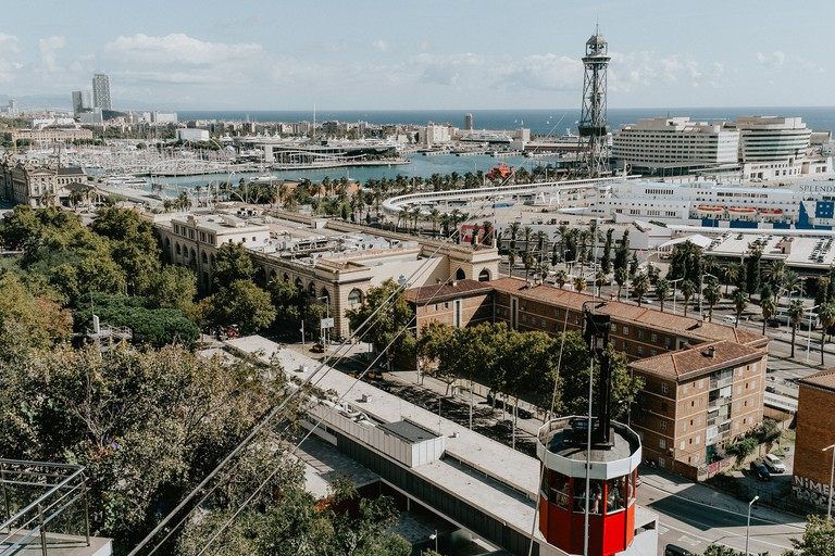 Barcelona's cable car provides panoramas of the city and the sea
