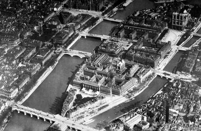 Aerial view of the Ile de la Cite (1920), Paris, France.