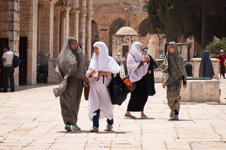 Israel Old City Jerusalem Haram Esh Sharif Noble Sanctuary Temple Mount Dome of the Rock El Aqsa Mosque women chatting talking walking hijabs abayas
