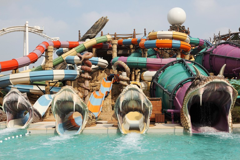 Serpent themed slides at Yas Waterworld in Abu Dhabi.