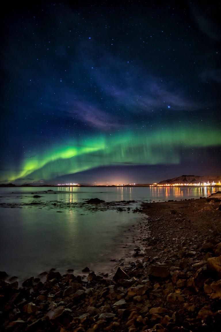 Northern lights, Kjalarnes, Reykjavik, Iceland.