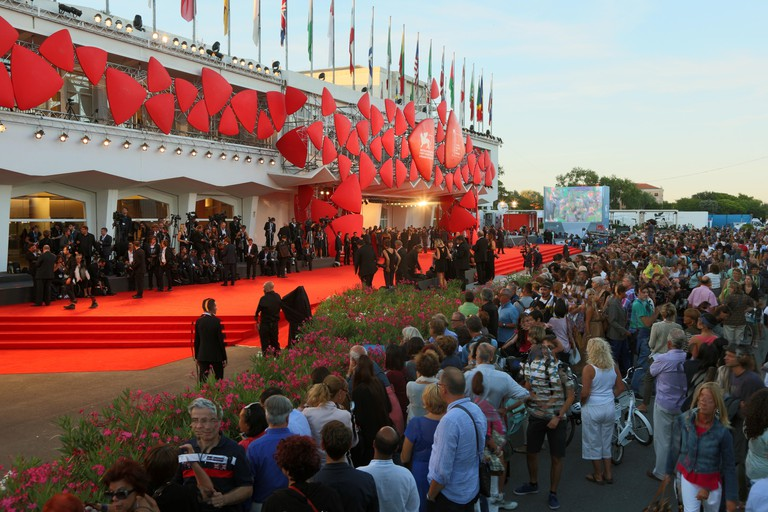 Atmosphere in front of the Palazzo del Cinema during the 71st Venice Film Festival in Venice