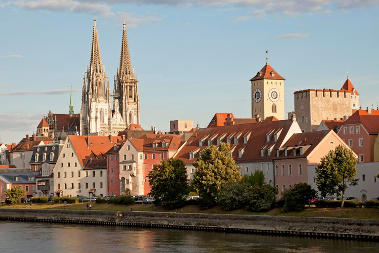 cityscape with Danube river, medieval centre, city hall tower and Regensburg Cathedral in Regensburg, Bavaria, Germany, Europe