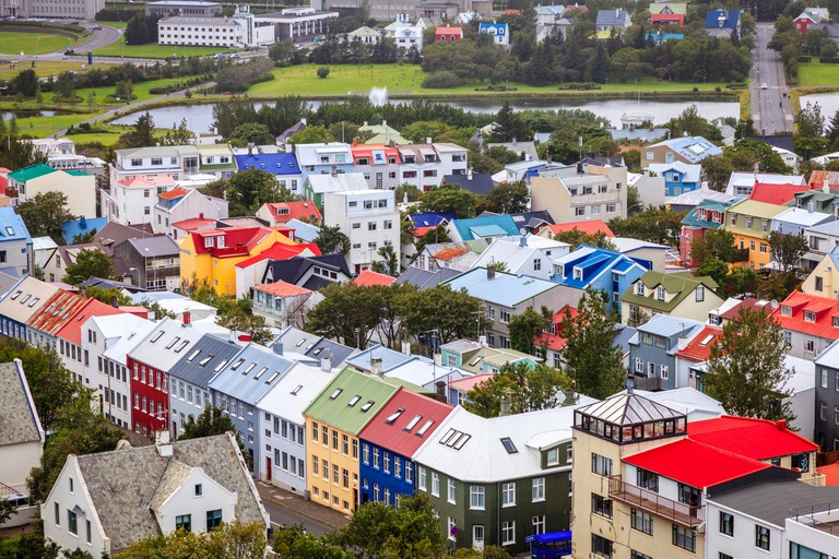 Bird's eye view of downtown Reykjavik