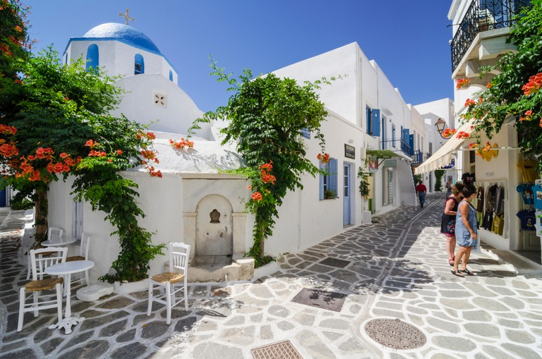 Blue domed church in Parikia Town on the island of Paros, Cyclades
