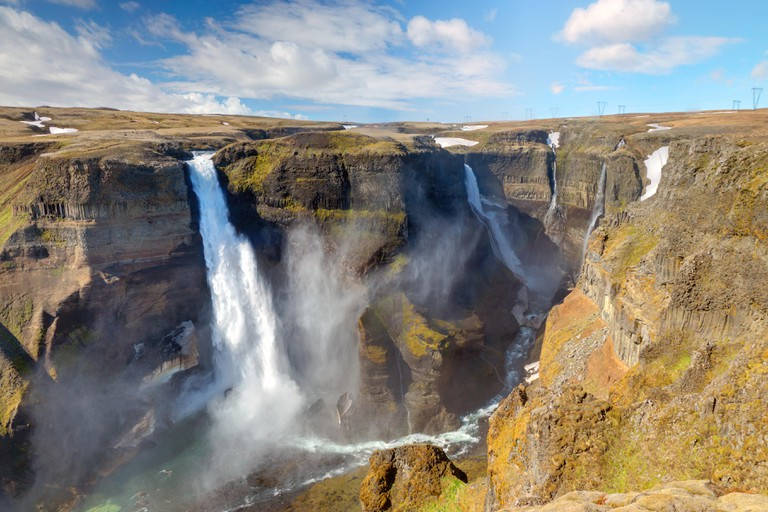 The two waterfalls Haifoss and Grannifoss in Iceland