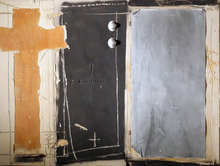 Hieroglyphics 1994 by Antoni Tapies (1923-2012). Mixed materials on wood
