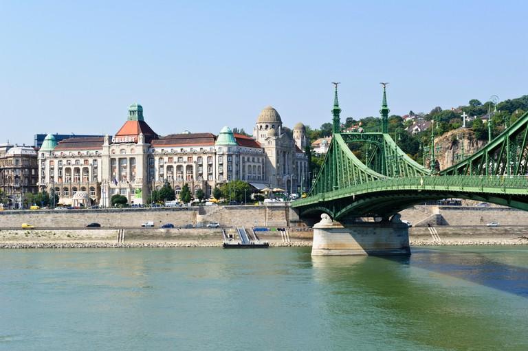 Liberty bridge crossing the river Danube, Budapest, Hungary.