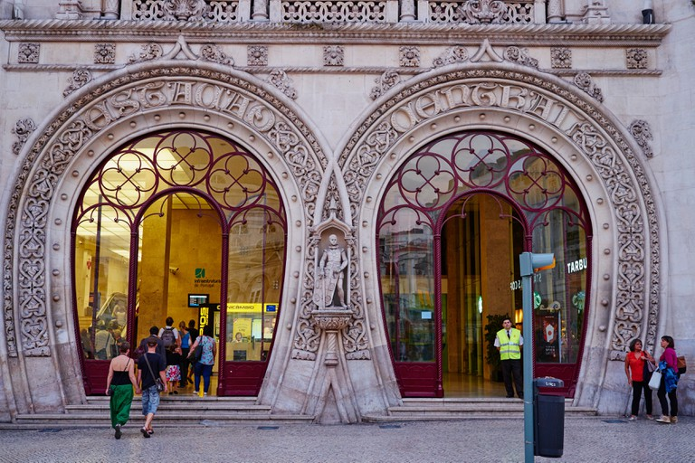 Portugal, Lisbon, Rossio railway station by the architect Jose Luis Monteiro, neo-Manueline style