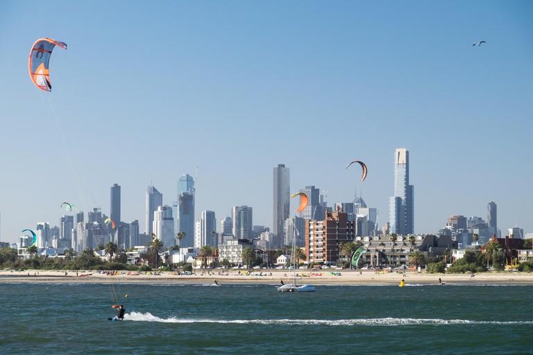 Kitesurfers at St. Kilda Beach in Melbourne, Australia.