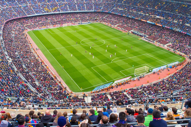 BARCELONA - FEB 21: A general view of the Camp Nou Stadium in the football match between Futbol Club Barcelona and Malaga.