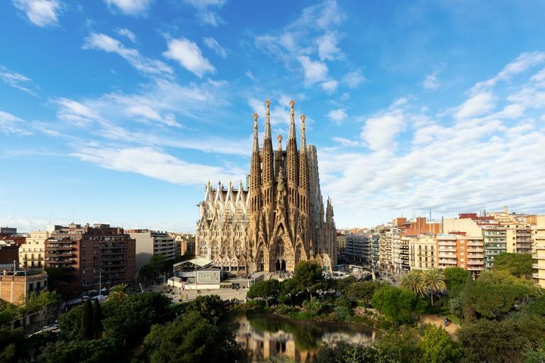 Aerial view of the Sagrada Familia, a large Roman Catholic church in Barcelona, Spain, designed by Catalan architect Antoni Gaudi.