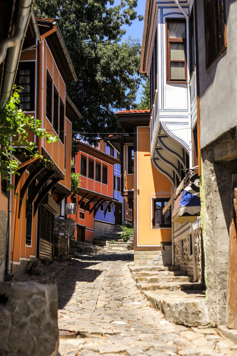 Architecture and street view in Plovdiv's old town, Bulgaria