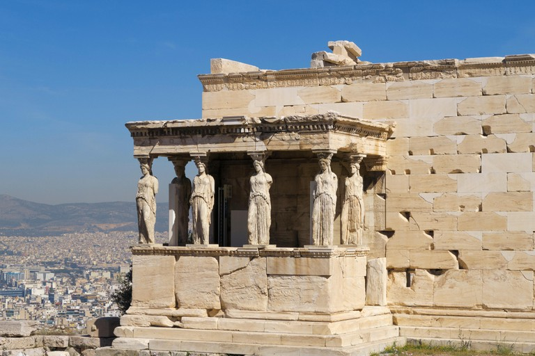 Porch of the Caryatids at the Erechtheion temple, Acropolis, Athens