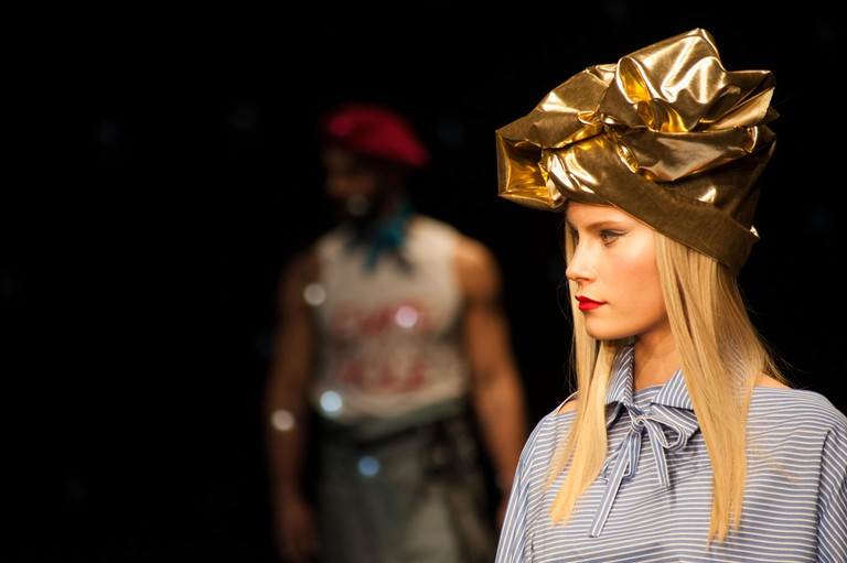 """Spain, Barcelona. 2nd Feb, 2017. A model walks the runway for the """"Brain & Beast"""" collection at the Barcelona 080 Fashion Week Autumn/Winter 2016/2017 at """"Teatre Nacional de Catalunya"""" Credit: Charlie Perez/Alamy Live News"""