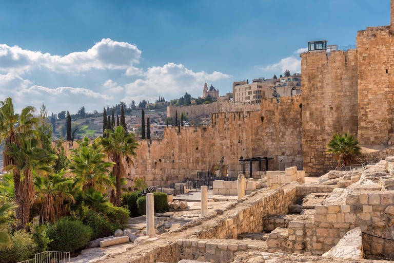 A view of ancient Jerusalem Old City from Temple Mount, Jerusalem, Israel.