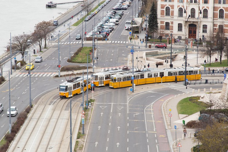 View of the tram system near Liberty Bridge in Budapest Hungary